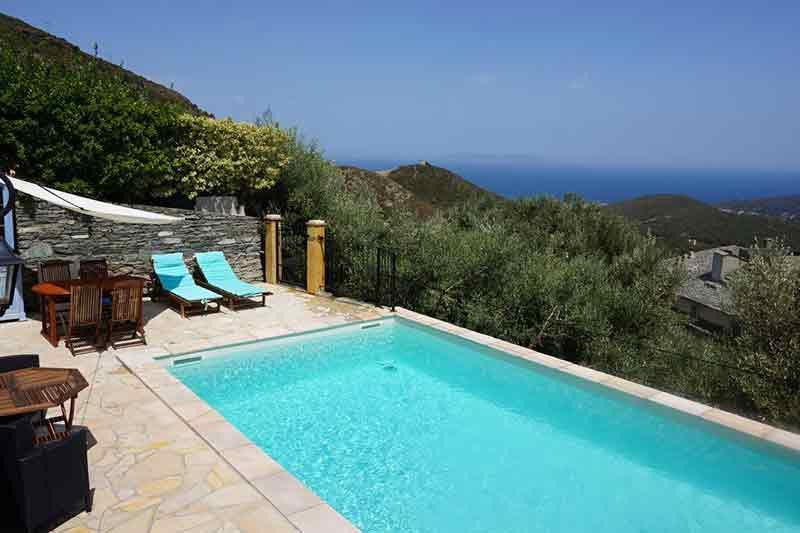 Bella casa in pietra con piscina, terrazza, giardino, vista panoramica sul mare e macchia mediterranea par Locations Cap Corse