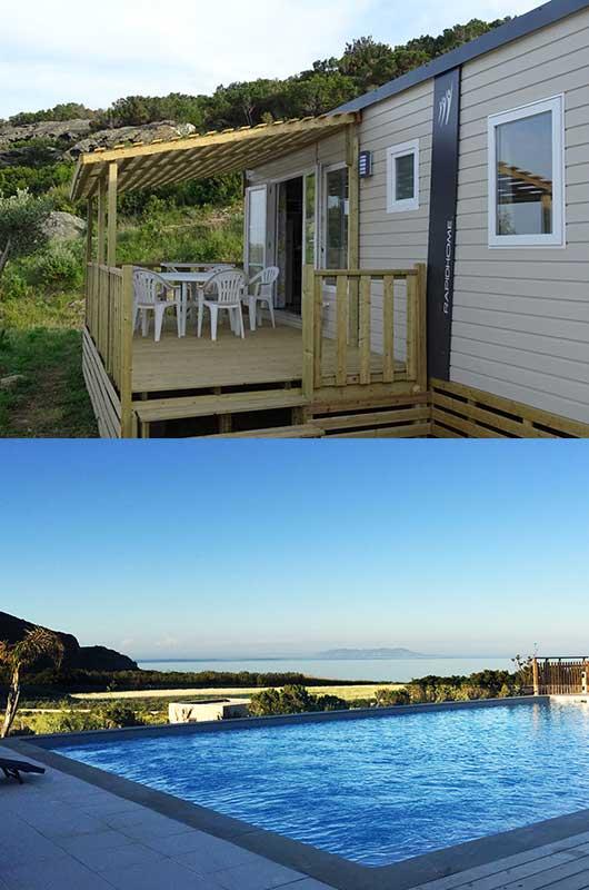 Mobil-home dans un camping familial avec piscine, vue mer et proche plage